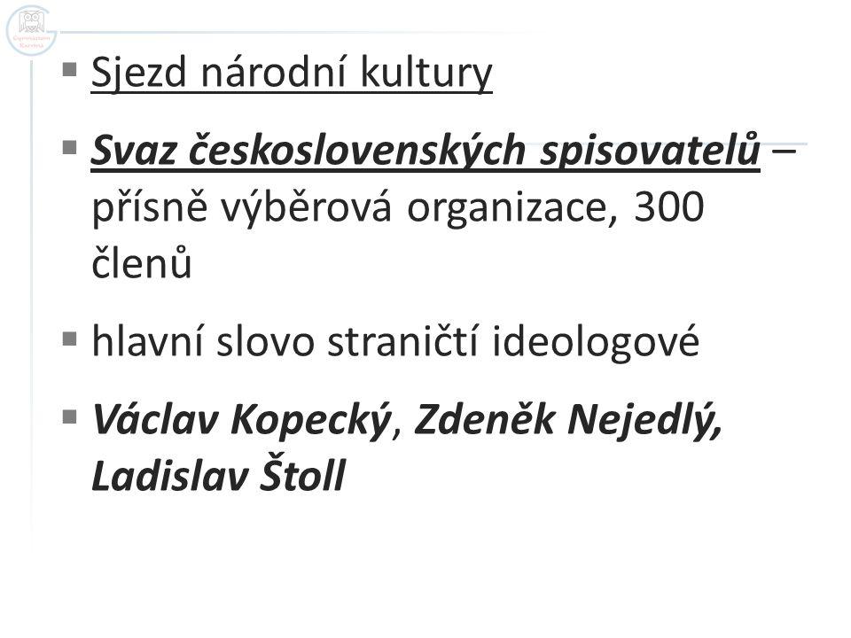  Sjezd národní kultury  Svaz československých spisovatelů – přísně výběrová organizace, 300 členů  hlavní slovo straničtí ideologové  Václav Kopec