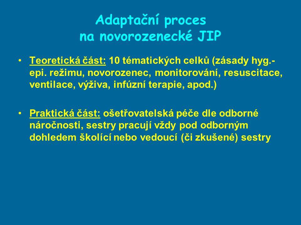 Adaptační proces na novorozenecké JIP Cíl adaptačního procesu: Orientace a pochopení neonatologické problematiky Usnadnit proces adaptace na pracovní prostředí Začlenění sestry v pracovním kolektivu Osvojení komunikativních dovedností v týmu a s rodiči