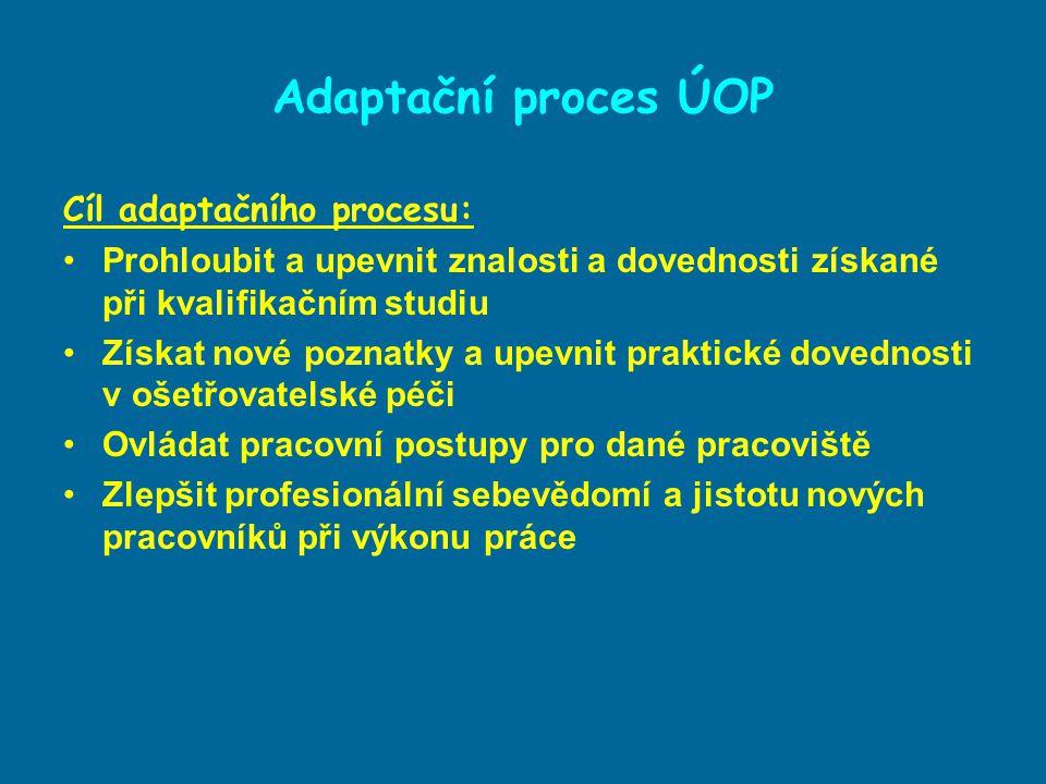 Adaptační proces ÚOP Vyrovnávání se člověka se skutečností, ve které plní pracovní úkoly Vychází ze závazného SOP VFN (Standardního ošetřovatelského postupu) Pracovní adaptace – vyrovnávání souboru osobních předpokladů jedince s konkrétními požadavky jeho pracovního zařazení Sociální adaptace – začleňování jedince do struktury sociálních vztahů v rámci pracovní skupiny