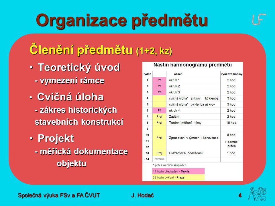 Společná výuka FSv a FA ČVUT4 J. Hodač Organizace předmětu Členění předmětu (1+2, kz) Teoretický úvod Teoretický úvod - vymezení rámce Cvičná úloha Cv
