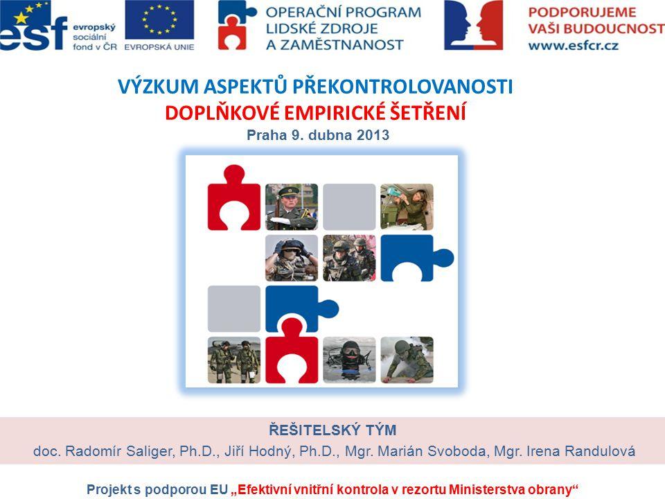 VÝZKUM ASPEKTŮ PŘEKONTROLOVANOSTI DOPLŇKOVÉ EMPIRICKÉ ŠETŘENÍ Praha 9. dubna 2013 ŘEŠITELSKÝ TÝM doc. Radomír Saliger, Ph.D., Jiří Hodný, Ph.D., Mgr.