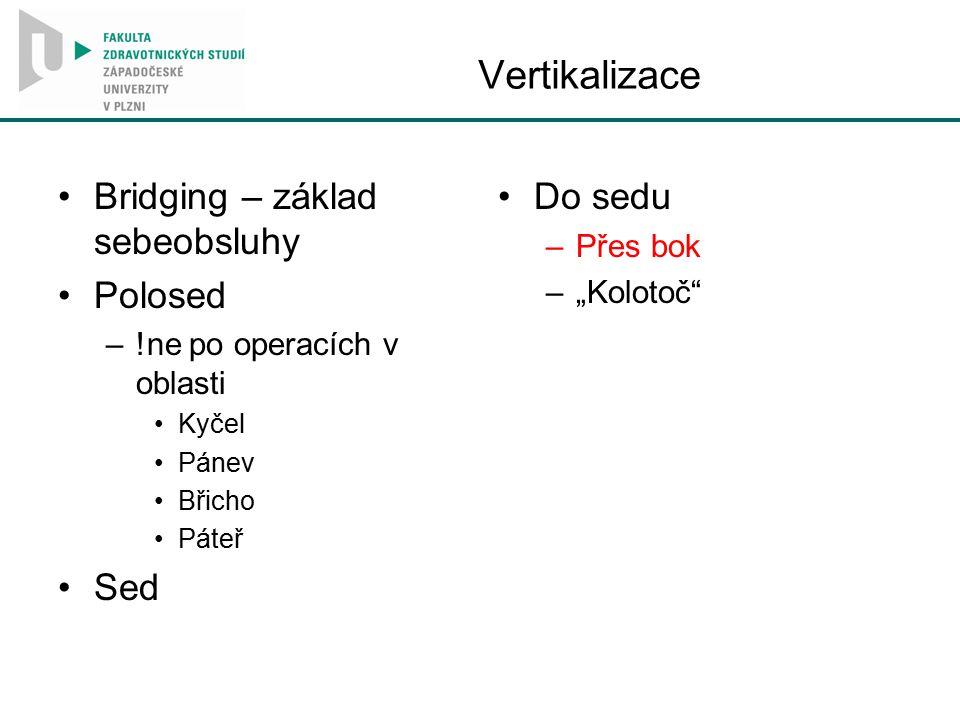 """Vertikalizace Bridging – základ sebeobsluhy Polosed –!ne po operacích v oblasti Kyčel Pánev Břicho Páteř Sed Do sedu –Přes bok –""""Kolotoč"""""""