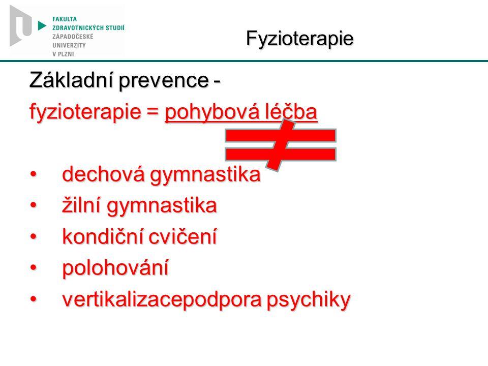 Fyzioterapie Základní prevence - fyzioterapie = pohybová léčba dechová gymnastikadechová gymnastika žilní gymnastikažilní gymnastika kondiční cvičeník