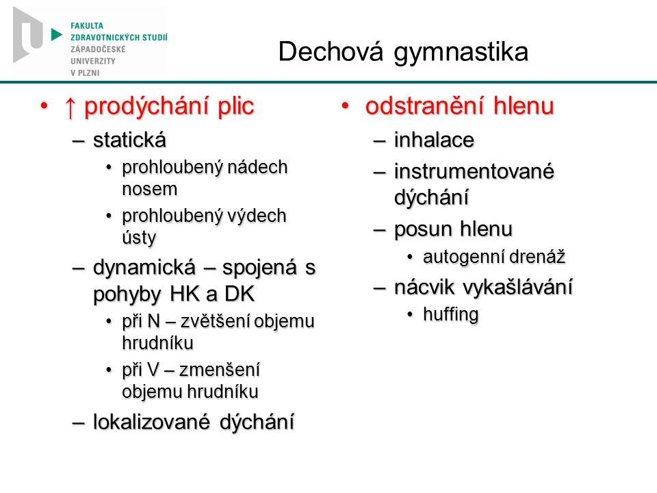 Dechová gymnastika ↑ prodýchání plic↑ prodýchání plic –statická prohloubený nádech nosemprohloubený nádech nosem prohloubený výdech ústyprohloubený vý