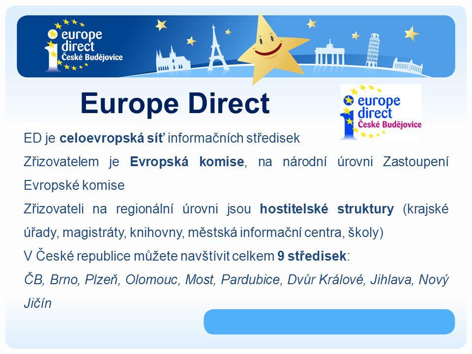 Europe Direct ED je celoevropská síť informačních středisek Zřizovatelem je Evropská komise, na národní úrovni Zastoupení Evropské komise Zřizovateli na regionální úrovni jsou hostitelské struktury (krajské úřady, magistráty, knihovny, městská informační centra, školy) V České republice můžete navštívit celkem 9 středisek: ČB, Brno, Plzeň, Olomouc, Most, Pardubice, Dvůr Králové, Jihlava, Nový Jičín