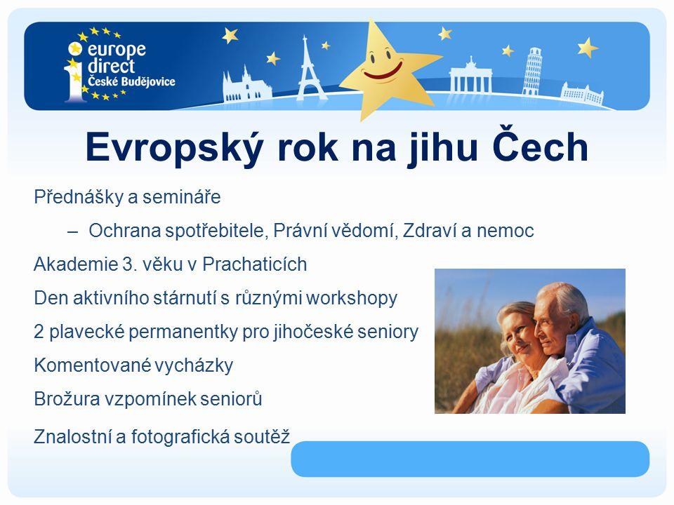Evropský rok na jihu Čech Přednášky a semináře –Ochrana spotřebitele, Právní vědomí, Zdraví a nemoc Akademie 3.