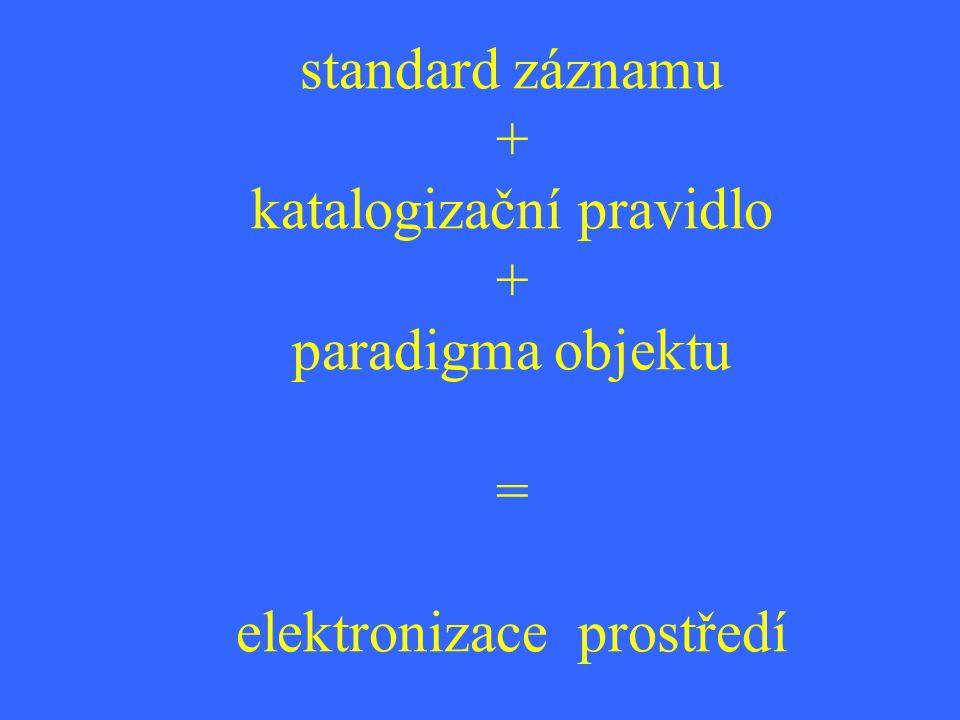 standard záznamu + katalogizační pravidlo + paradigma objektu = elektronizace prostředí