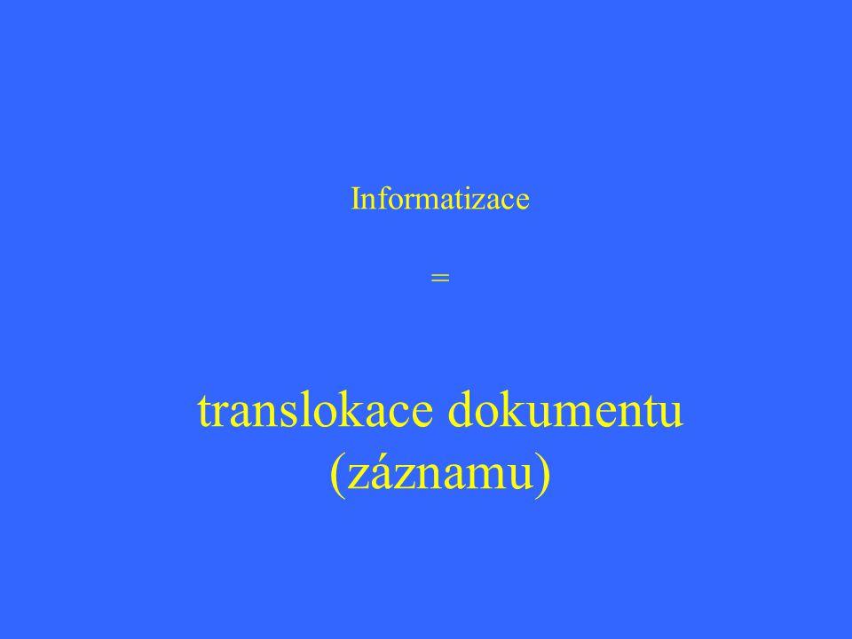 Informatizace = translokace dokumentu (záznamu)