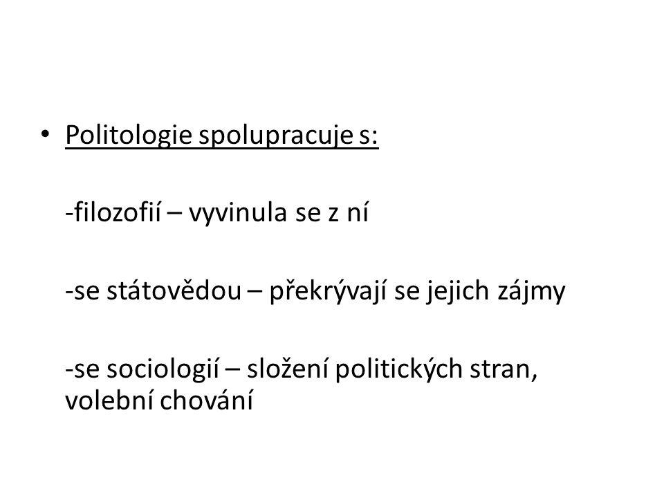 Politologie spolupracuje s: -filozofií – vyvinula se z ní -se státovědou – překrývají se jejich zájmy -se sociologií – složení politických stran, volební chování