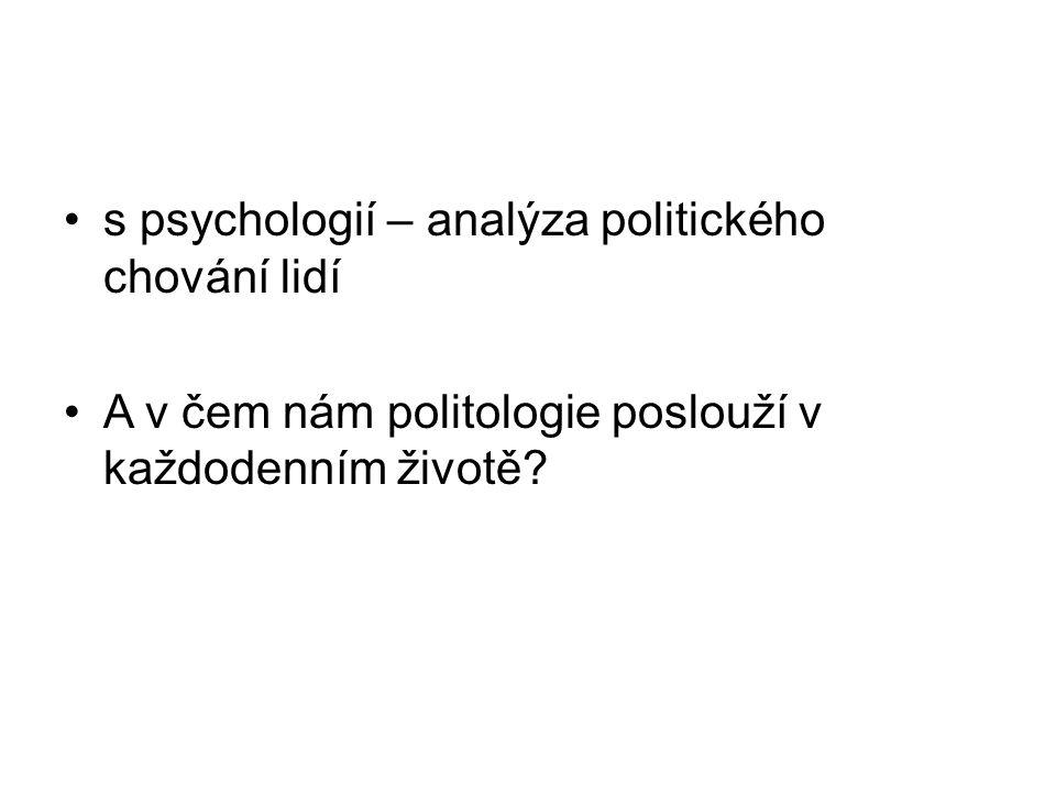 s psychologií – analýza politického chování lidí A v čem nám politologie poslouží v každodenním životě