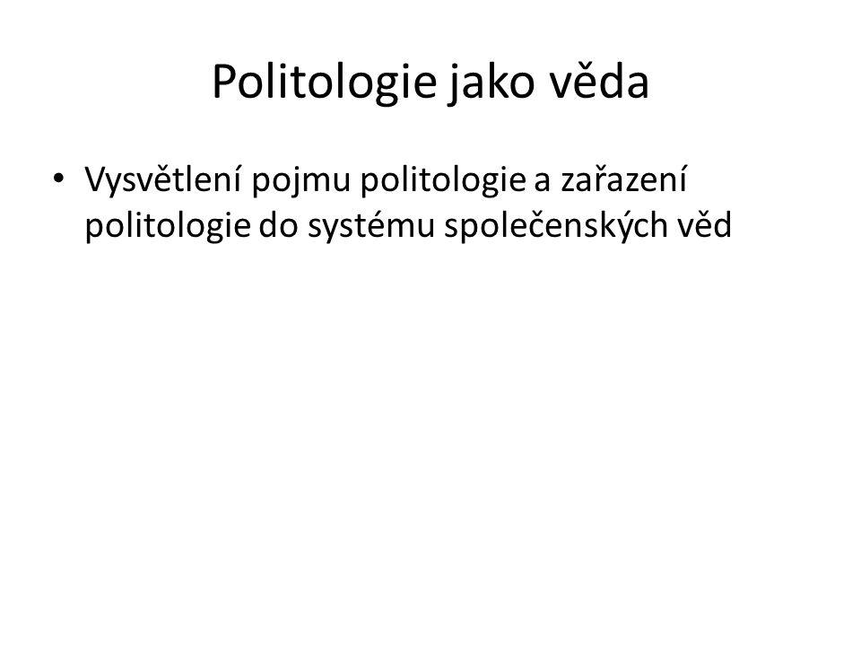 Politologie jako věda Vysvětlení pojmu politologie a zařazení politologie do systému společenských věd