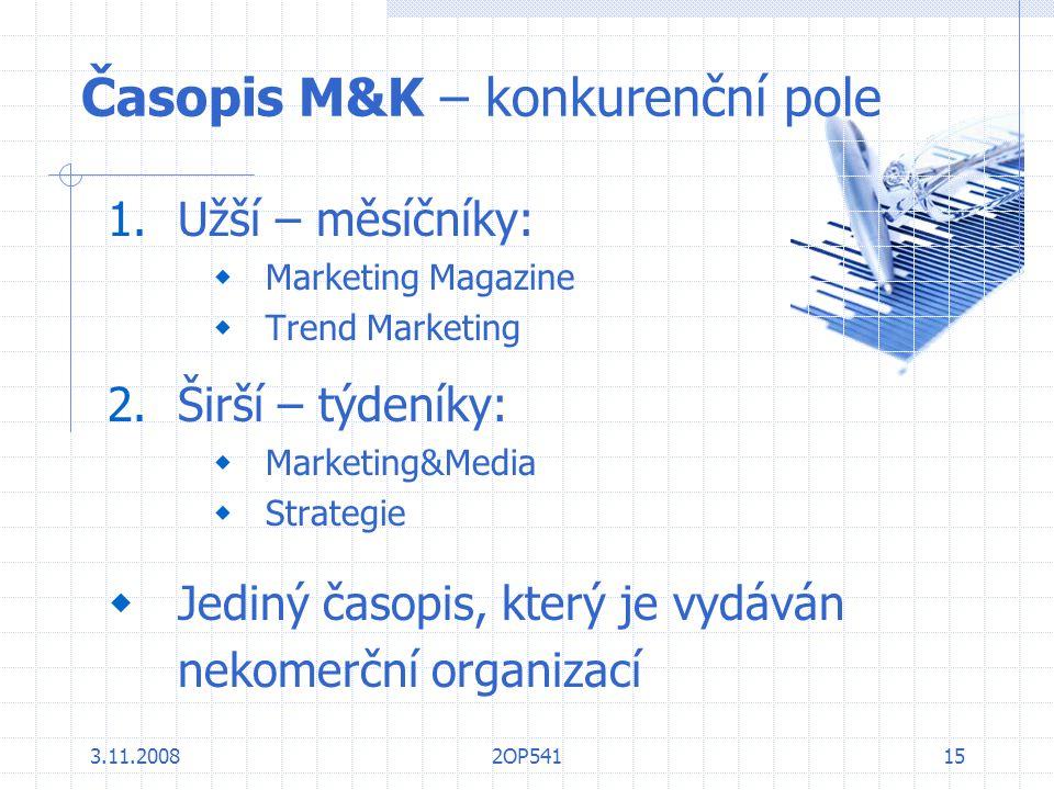 3.11.20082OP54115 Časopis M&K – konkurenční pole 1.Užší – měsíčníky:  Marketing Magazine  Trend Marketing 2.Širší – týdeníky:  Marketing&Media  St