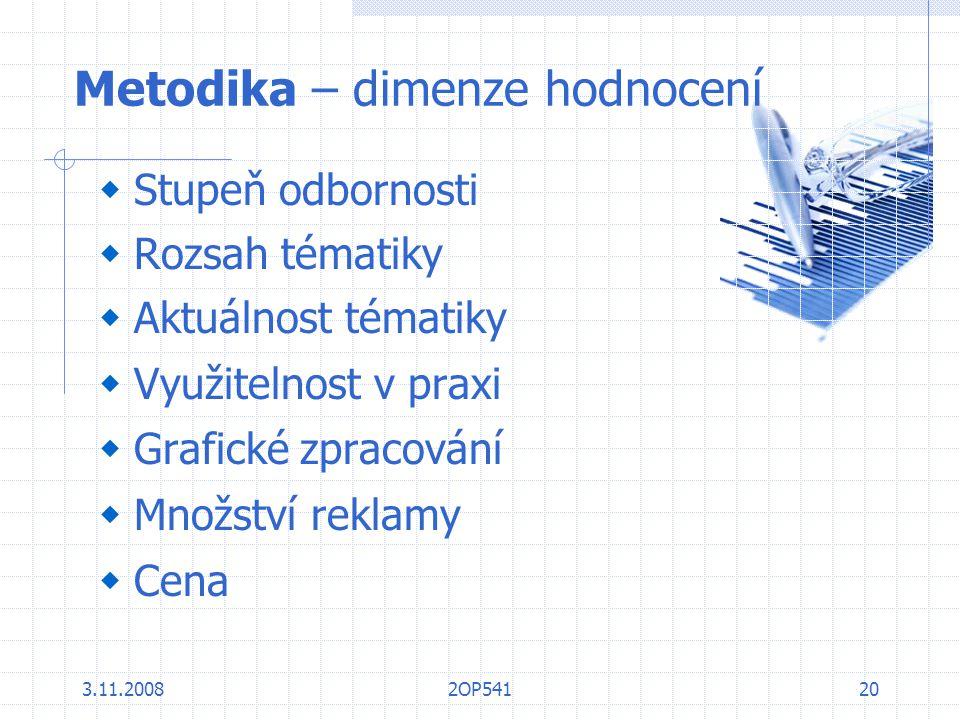 3.11.20082OP54120 Metodika – dimenze hodnocení  Stupeň odbornosti  Rozsah tématiky  Aktuálnost tématiky  Využitelnost v praxi  Grafické zpracován