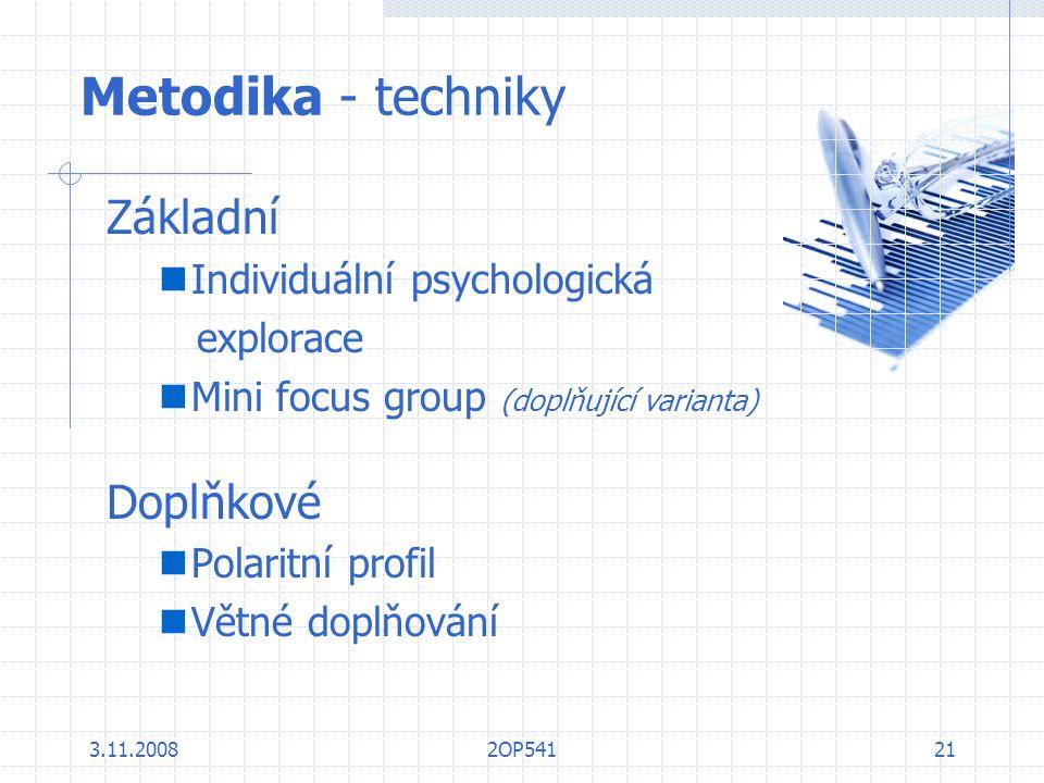 3.11.20082OP54121 Metodika - techniky Základní Individuální psychologická explorace Mini focus group (doplňující varianta) Doplňkové Polaritní profil