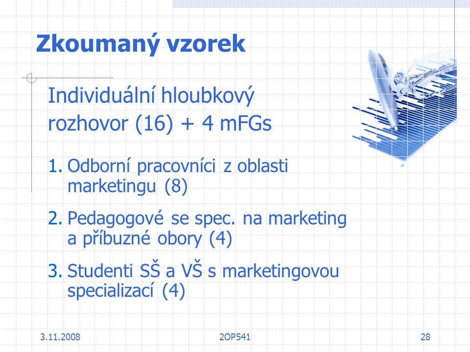 3.11.20082OP54128 Zkoumaný vzorek Individuální hloubkový rozhovor (16) + 4 mFGs 1.Odborní pracovníci z oblasti marketingu (8) 2.Pedagogové se spec. na