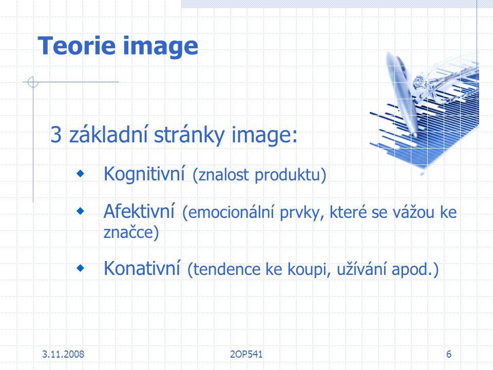 3.11.20082OP5416 Teorie image 3 základní stránky image:  Kognitivní (znalost produktu)  Afektivní (emocionální prvky, které se vážou ke značce)  Ko