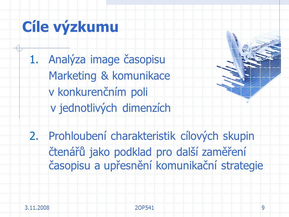 3.11.20082OP5419 Cíle výzkumu 1.Analýza image časopisu Marketing & komunikace v konkurenčním poli v jednotlivých dimenzích 2.Prohloubení charakteristi