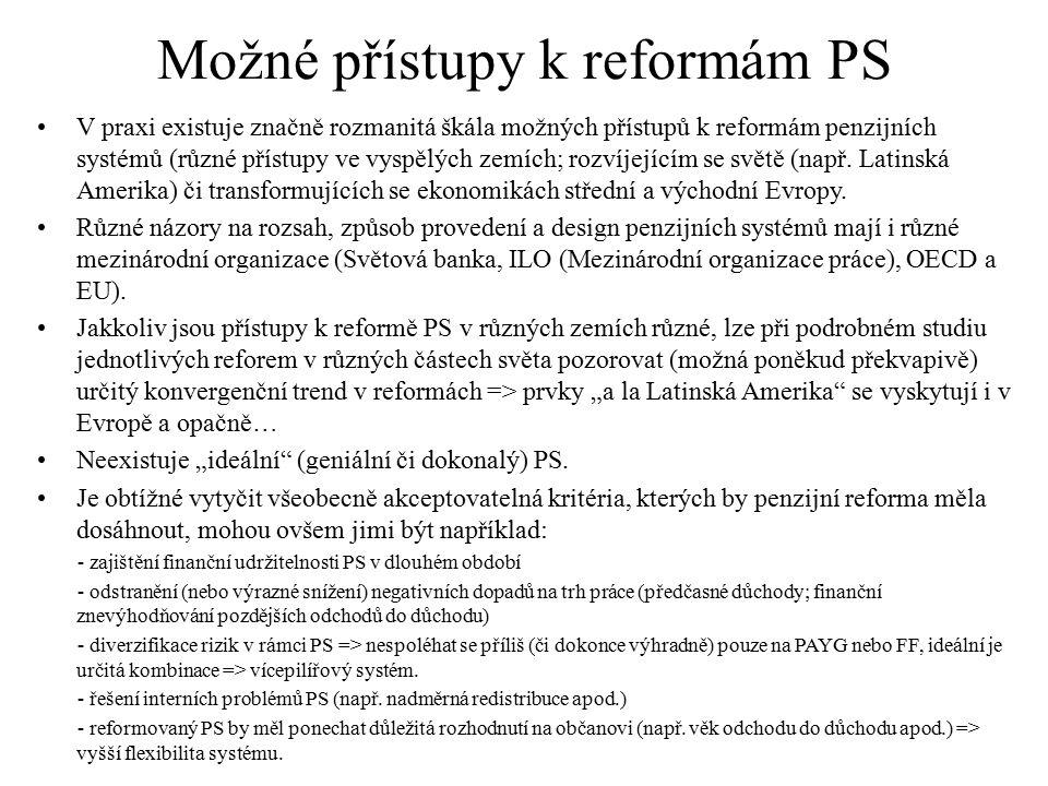 Možné přístupy k reformám PS V praxi existuje značně rozmanitá škála možných přístupů k reformám penzijních systémů (různé přístupy ve vyspělých zemíc