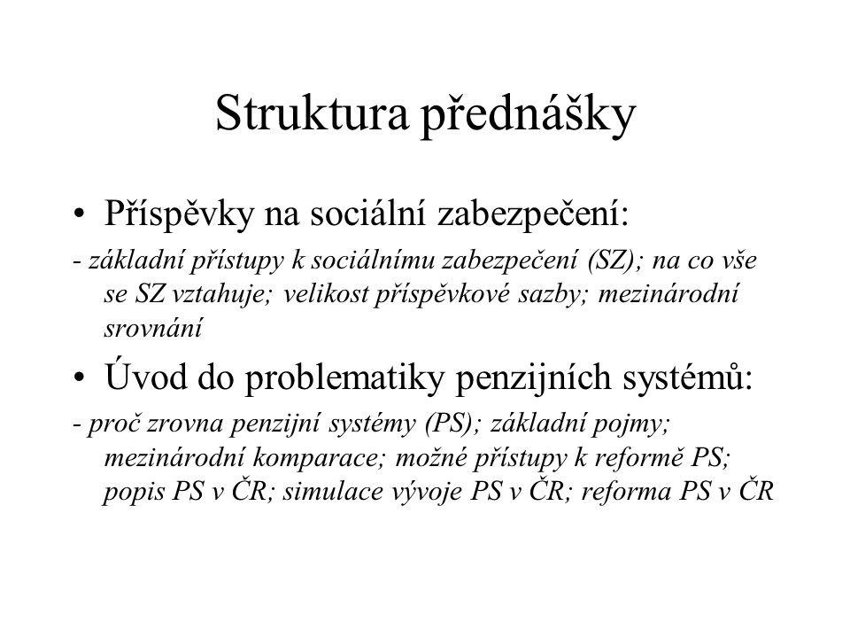 Struktura přednášky Příspěvky na sociální zabezpečení: - základní přístupy k sociálnímu zabezpečení (SZ); na co vše se SZ vztahuje; velikost příspěvko