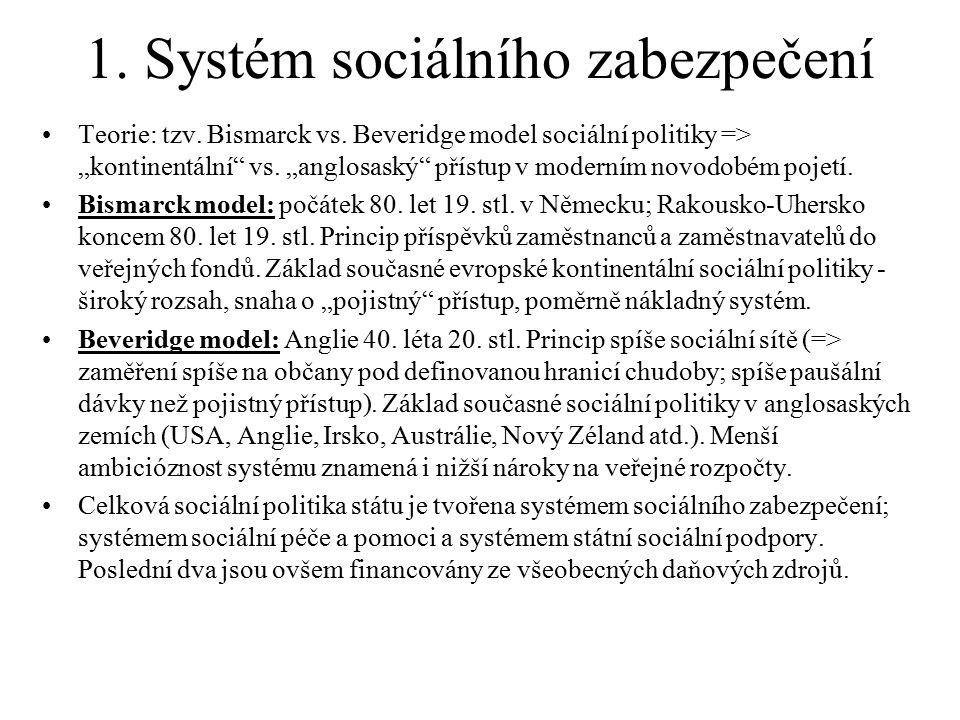"""1. Systém sociálního zabezpečení Teorie: tzv. Bismarck vs. Beveridge model sociální politiky => """"kontinentální"""" vs. """"anglosaský"""" přístup v moderním no"""