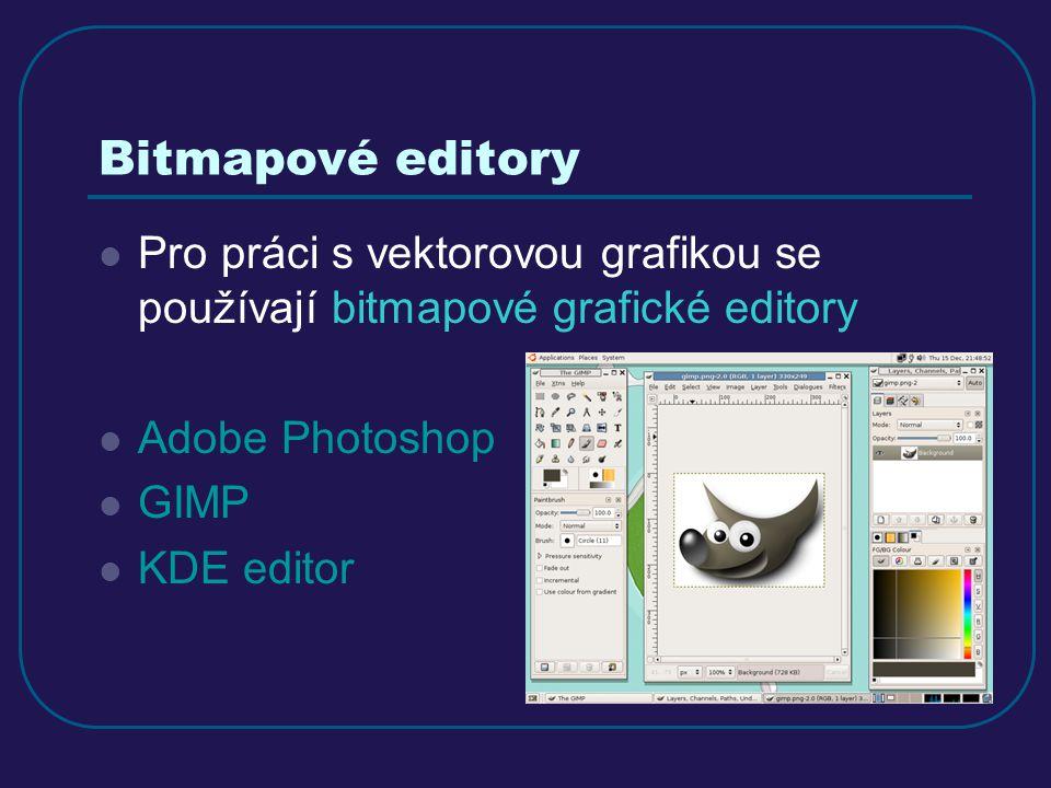 Bitmapové editory Pro práci s vektorovou grafikou se používají bitmapové grafické editory Adobe Photoshop GIMP KDE editor