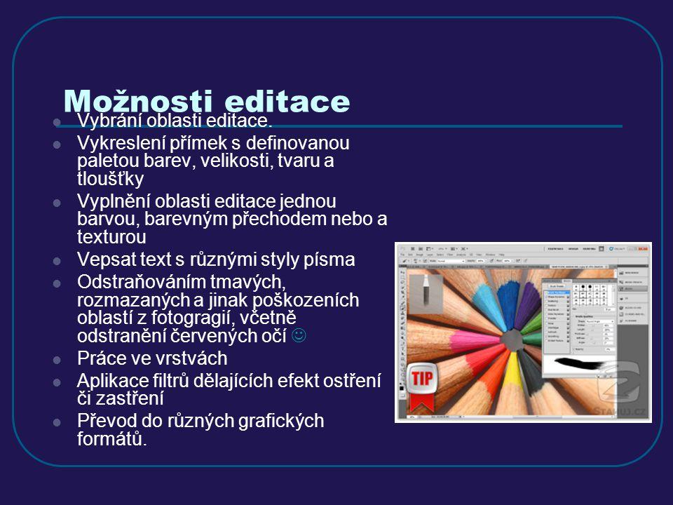 Možnosti editace Vybrání oblasti editace.