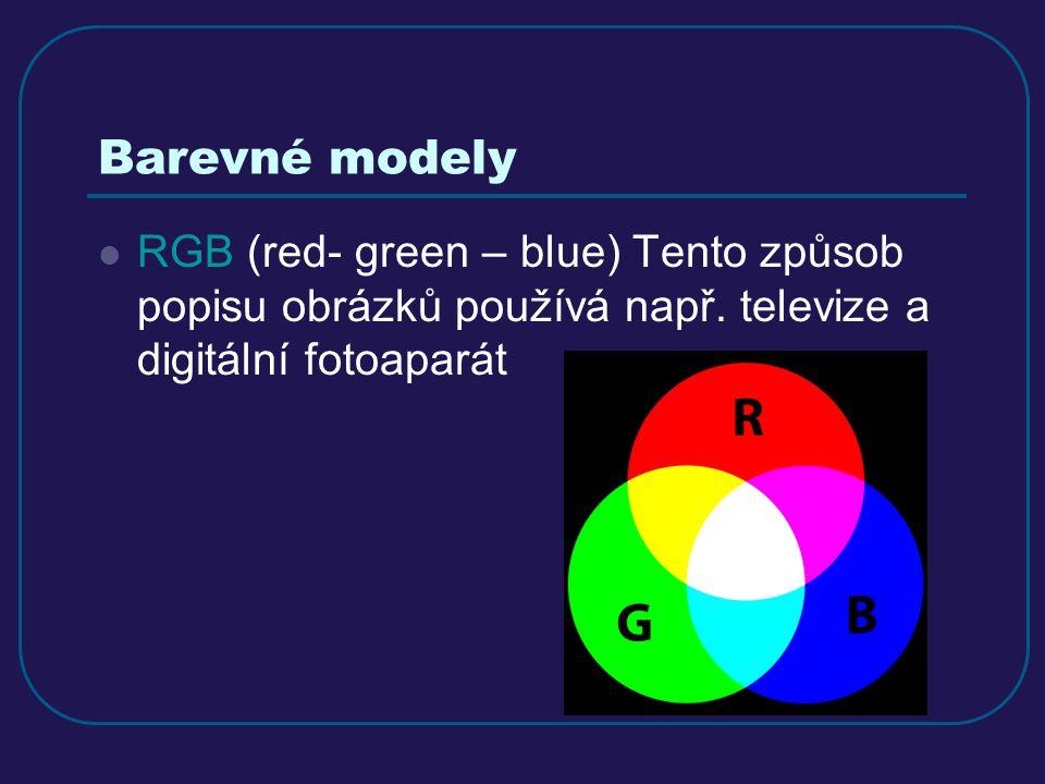 Barevné modely RGB (red- green – blue) Tento způsob popisu obrázků používá např.