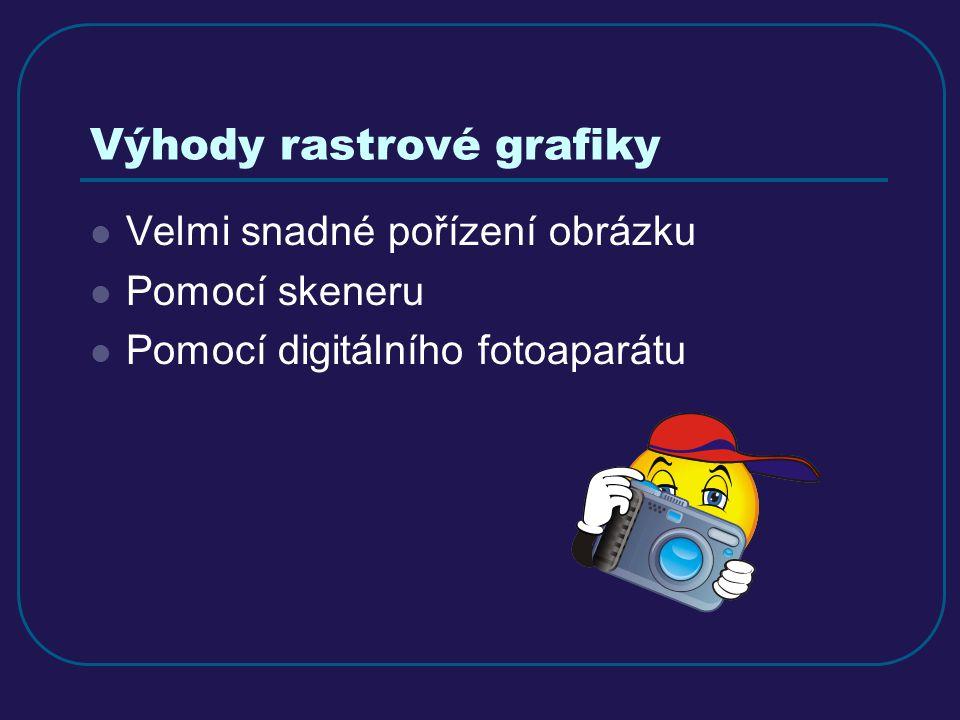 Výhody rastrové grafiky Velmi snadné pořízení obrázku Pomocí skeneru Pomocí digitálního fotoaparátu