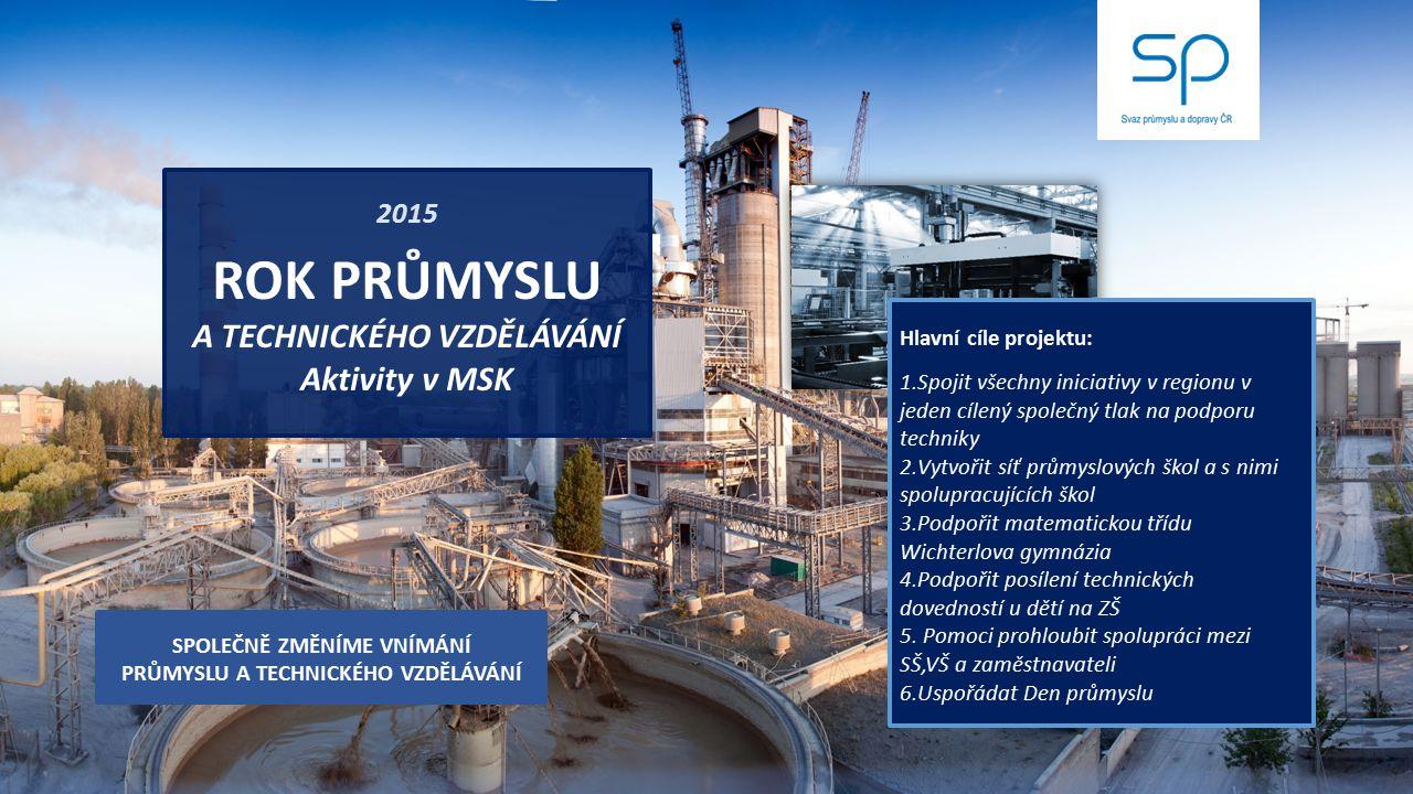 2015 ROK PRŮMYSLU A TECHNICKÉHO VZDĚLÁVÁNÍ Aktivity v MSK Hlavní cíle projektu: 1.Spojit všechny iniciativy v regionu v jeden cílený společný tlak na
