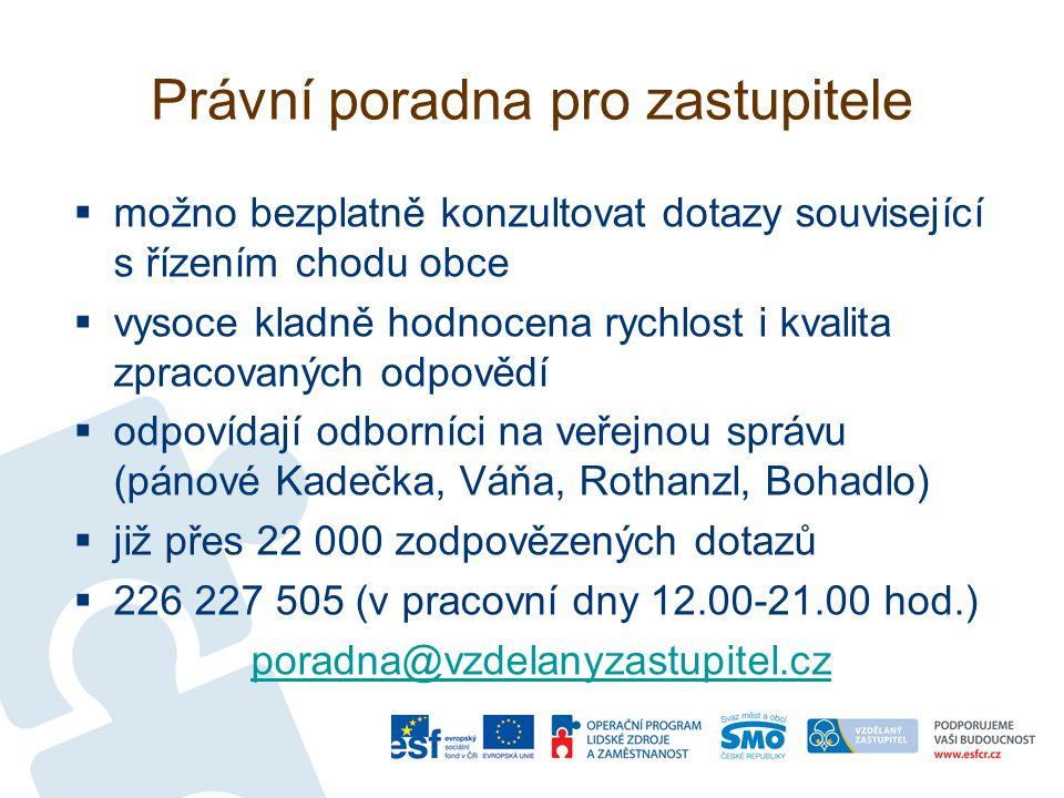 Právní poradna pro zastupitele  možno bezplatně konzultovat dotazy související s řízením chodu obce  vysoce kladně hodnocena rychlost i kvalita zpracovaných odpovědí  odpovídají odborníci na veřejnou správu (pánové Kadečka, Váňa, Rothanzl, Bohadlo)  již přes 22 000 zodpovězených dotazů  226 227 505 (v pracovní dny 12.00-21.00 hod.) poradna@vzdelanyzastupitel.cz