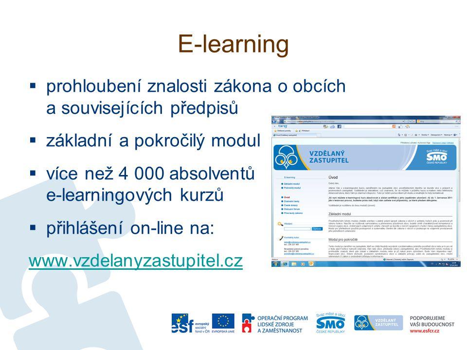 E-learning  prohloubení znalosti zákona o obcích a souvisejících předpisů  základní a pokročilý modul  více než 4 000 absolventů e-learningových kurzů  přihlášení on-line na: www.vzdelanyzastupitel.cz