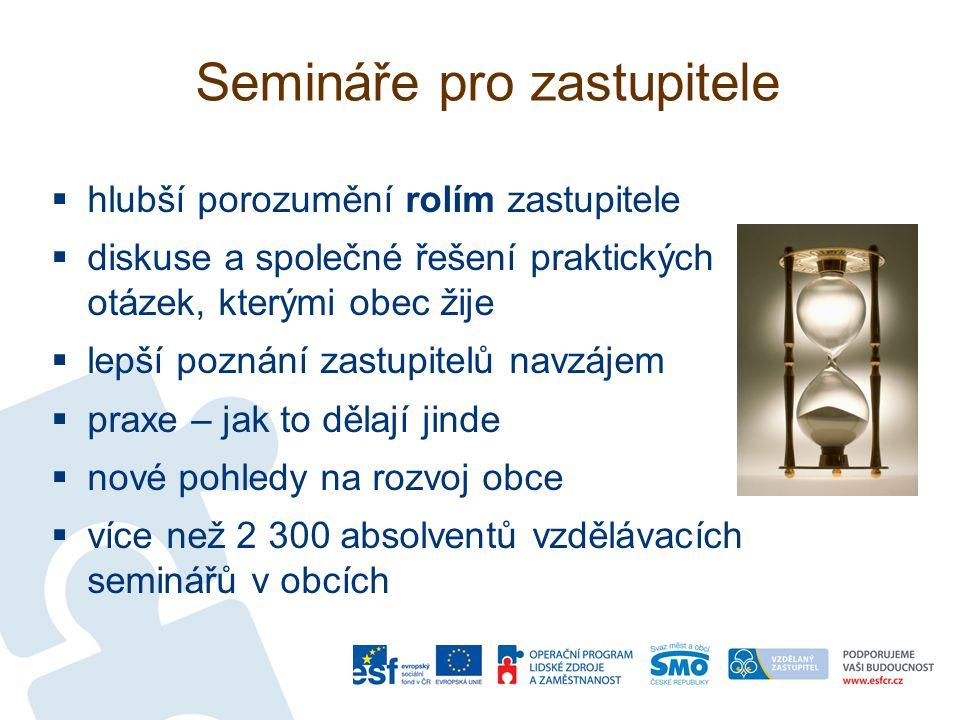 Semináře pro zastupitele  hlubší porozumění rolím zastupitele  diskuse a společné řešení praktických otázek, kterými obec žije  lepší poznání zastu
