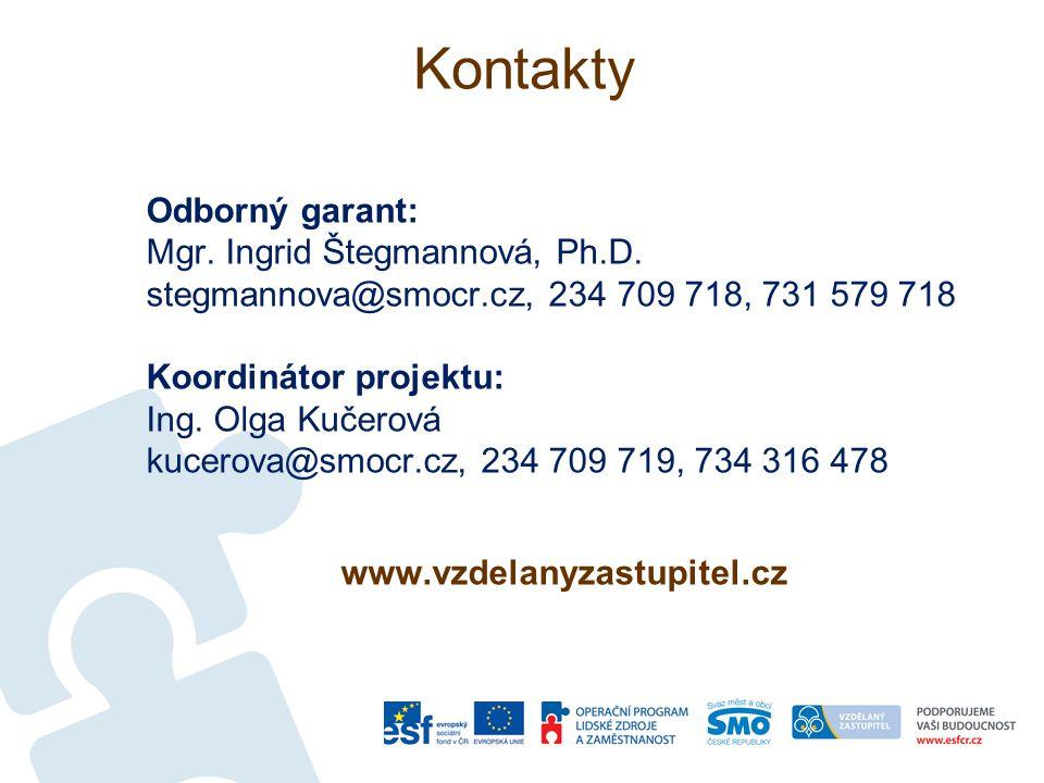 Kontakty Odborný garant: Mgr. Ingrid Štegmannová, Ph.D. stegmannova@smocr.cz, 234 709 718, 731 579 718 Koordinátor projektu: Ing. Olga Kučerová kucero