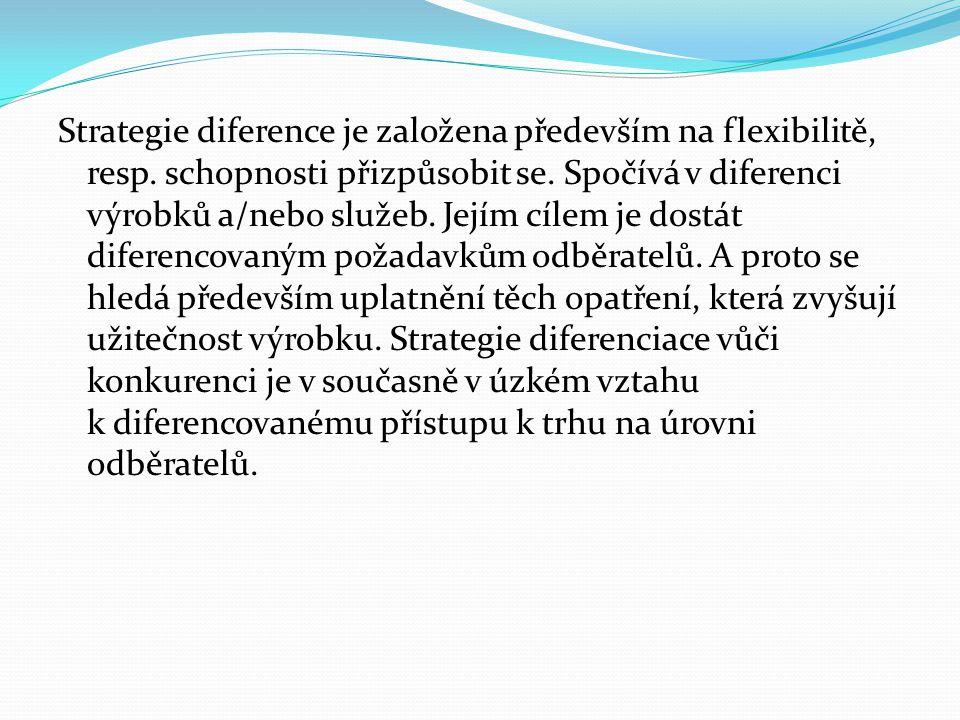 Strategie diference je založena především na flexibilitě, resp.