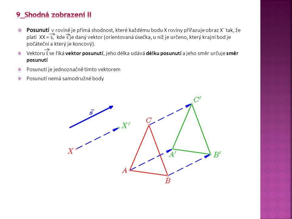  Posunutí v rovině je přímá shodnost, které každému bodu X roviny přiřazuje obraz X´ tak, že platí XX = s, kde s je daný vektor (orientovaná úsečka,