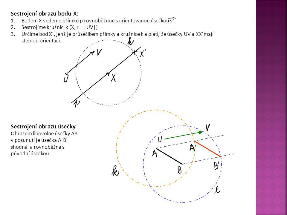 Sestrojení obrazu bodu X: 1.Bodem X vedeme přímku p rovnoběžnou s orientovanou úsečkou s 2.Sestrojíme kružnici k (X; r = |UV|) 3.Určíme bod X´, jenž j