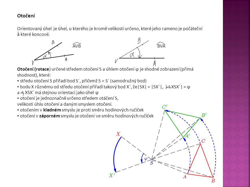 Sestrojení obrazu bodu X otočením o úhel ϕ 1)Sestrojíme polopřímku SX 2)Sestrojíme úhel XSA, jehož velikost a orientace jsou rovny velikosti a orientaci úhlu ϕ 3)Sestrojíme kružnici k (S, r = │SX│) 4)Určíme bod X´, jenž je průsečíkem kružnice k polopřímky SA.