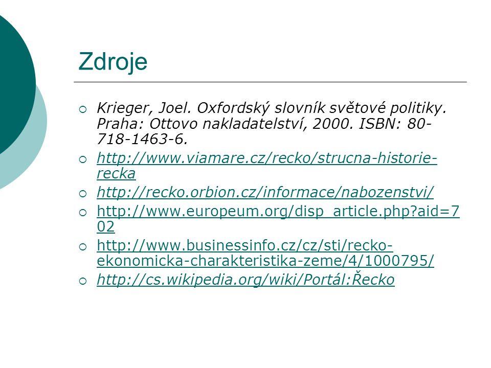 Zdroje  Krieger, Joel. Oxfordský slovník světové politiky. Praha: Ottovo nakladatelství, 2000. ISBN: 80- 718-1463-6.  http://www.viamare.cz/recko/st