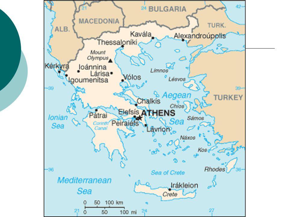 Geografické údaje  Balkánský poloostrov  Rozloha: 131 940 km²  Hlavní město: Athény  Počet obyvatel: 11 018 000  Politické zřízení: republika  Měna: Euro  Prezident: Karolos Papulias  Sousední státy: Albánie, Makedonie, Bulharsko, Turecko