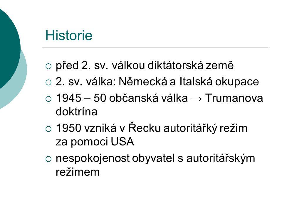Historie  1967 vojenský převrat (heslo: Řecko křesťanským Řekům)  1974 zhroucení dosavadní vlády → rychlý přechod k demokracii  1975 nová řecká ústava  1983 omezeny pravomoci prezidenta