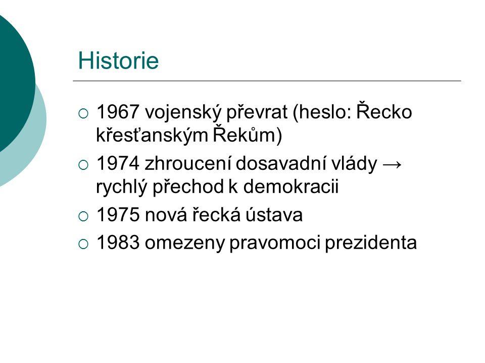 Historie  1967 vojenský převrat (heslo: Řecko křesťanským Řekům)  1974 zhroucení dosavadní vlády → rychlý přechod k demokracii  1975 nová řecká úst