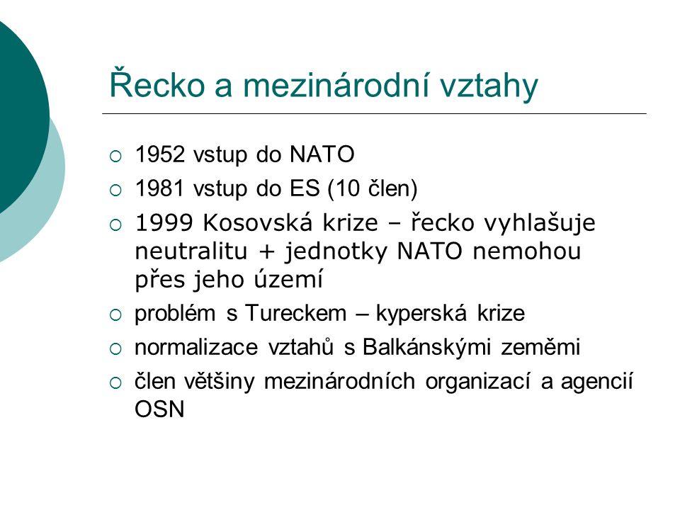 Řecko a mezinárodní vztahy  1952 vstup do NATO  1981 vstup do ES (10 člen)  1999 Kosovská krize – řecko vyhlašuje neutralitu + jednotky NATO nemoho
