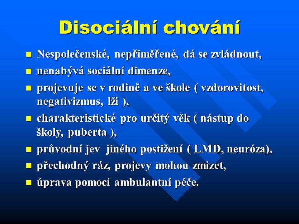 Disociální chování Nespolečenské, nepřiměřené, dá se zvládnout, Nespolečenské, nepřiměřené, dá se zvládnout, nenabývá sociální dimenze, nenabývá sociá