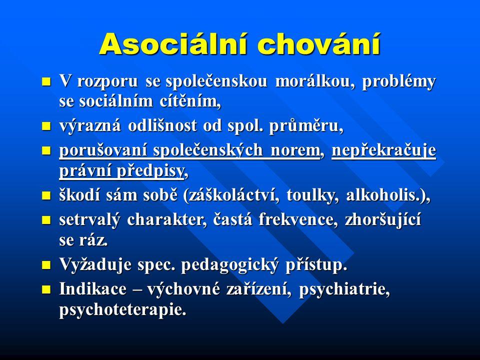 Asociální chování V rozporu se společenskou morálkou, problémy se sociálním cítěním, V rozporu se společenskou morálkou, problémy se sociálním cítěním