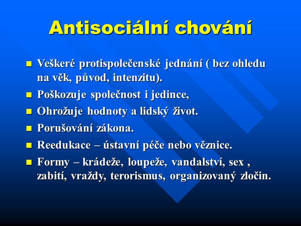 Antisociální chování Veškeré protispolečenské jednání ( bez ohledu na věk, původ, intenzitu). Veškeré protispolečenské jednání ( bez ohledu na věk, pů