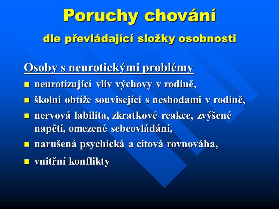 Poruchy chování dle převládající složky osobnosti Osoby s neurotickými problémy neurotizující vliv výchovy v rodině, neurotizující vliv výchovy v rodi