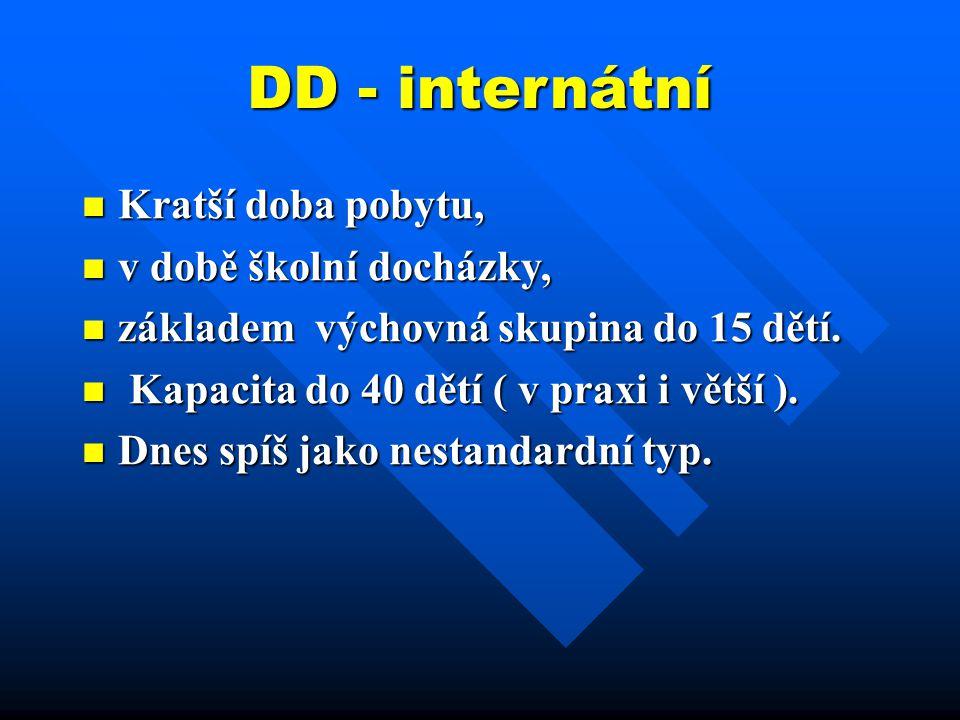 DD - internátní Kratší doba pobytu, Kratší doba pobytu, v době školní docházky, v době školní docházky, základem výchovná skupina do 15 dětí. základem