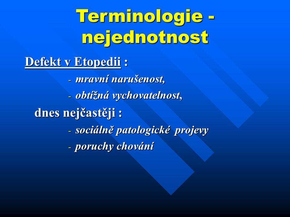 Terminologie - nejednotnost Defekt v Etopedii : - mravní narušenost, - obtížná vychovatelnost, dnes nejčastěji : dnes nejčastěji : - sociálně patologi