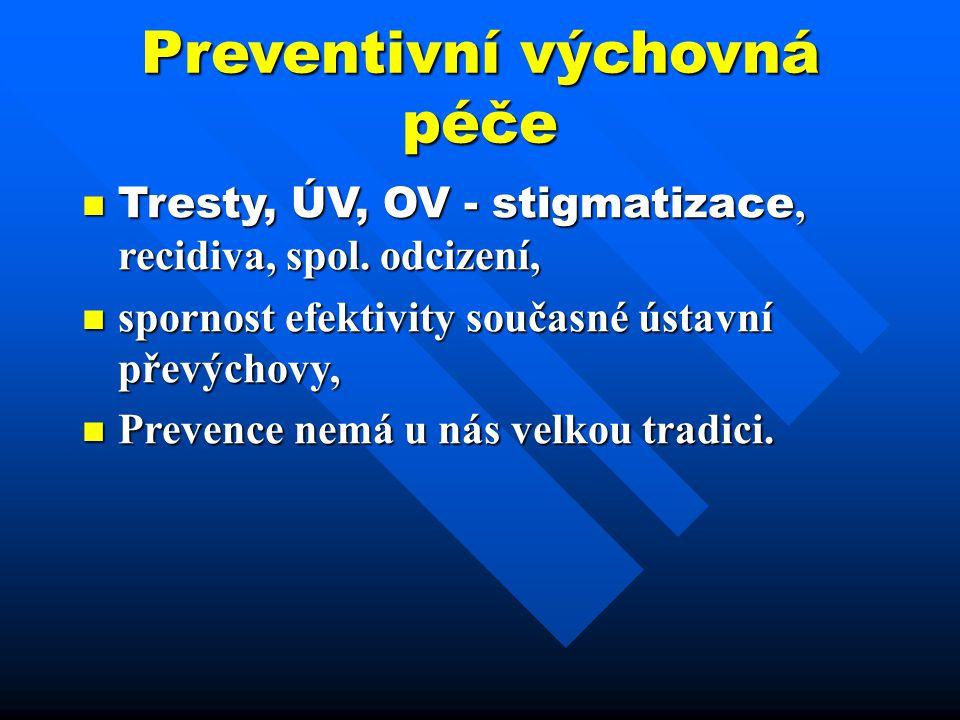 Preventivní výchovná péče Tresty, ÚV, OV - stigmatizace, recidiva, spol. odcizení, Tresty, ÚV, OV - stigmatizace, recidiva, spol. odcizení, spornost e