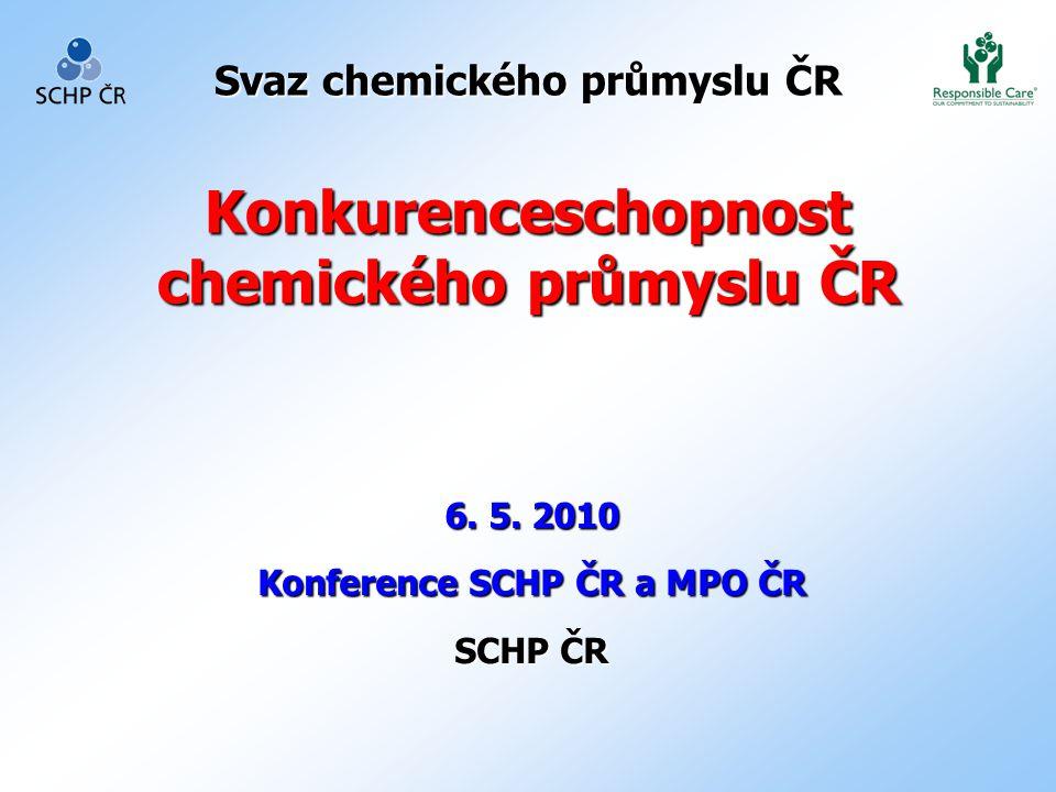 Svaz chemického průmyslu ČR Konkurenceschopnost chemického průmyslu ČR 6. 5. 2010 Konference SCHP ČR a MPO ČR SCHP ČR
